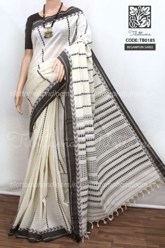 White Begampuri Cotton Saree, black and white Begampuri cotton saree, white cotton saree, cotton by cotton saree, pure cotton saree, handloom saree